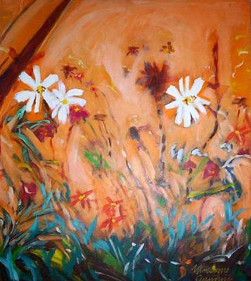 Painting - Daisies Along The Fence by Winsome Gunning