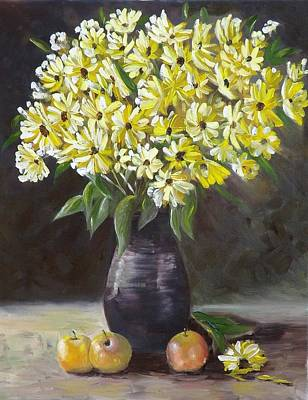 Painting - Daisies And Apples  by Courtney Wilding