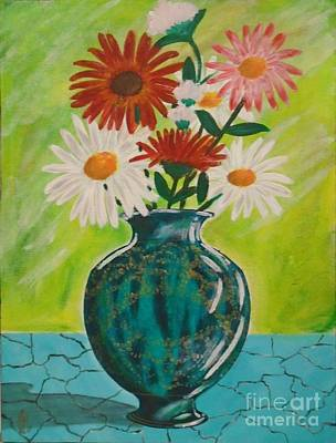 Painting - Daisies And Blue Vase by John Lyes