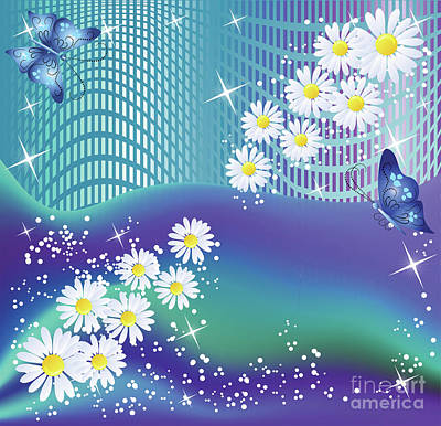 Mixed Media - Daisies And Butterflies On Blue Background by Heinz G Mielke