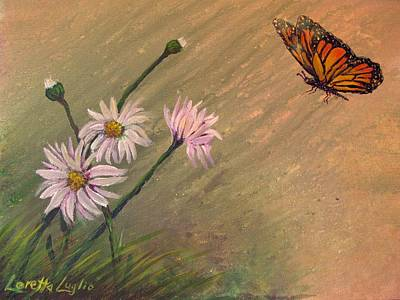 Painting - Daisies And Butterfly by Loretta Luglio