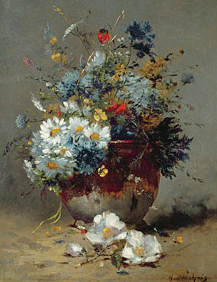 Daisies And Cornflowers Art Print by Eugene Henri Cauchois