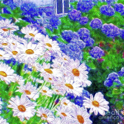 Digital Art - Daisies And Hydrangeas by Methune Hively