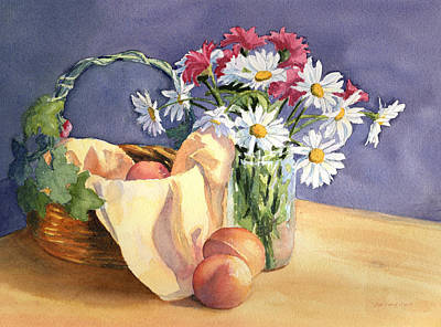 Painting - Daisies And Peaches by Vikki Bouffard