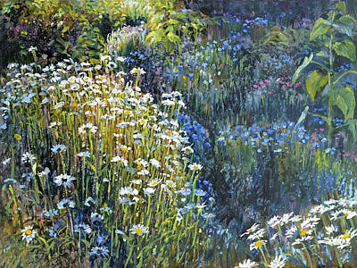 Daisies And Shades Of Blue Art Print
