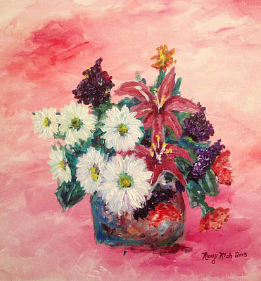 Pink Painting - Daisies And Stargazers by Roxy Rich