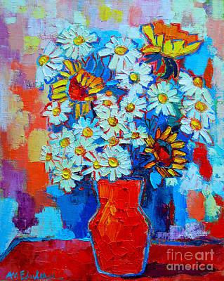 Daisies And Sunflowers Art Print by Ana Maria Edulescu