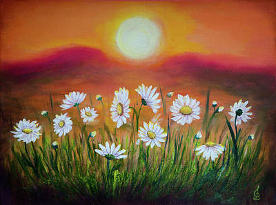 Painting - Daisies At Sunset by Lilia D