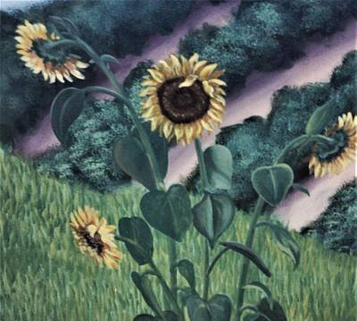 Painting - Daisies Growing In Field Of Grass by Suzn Art Memorial