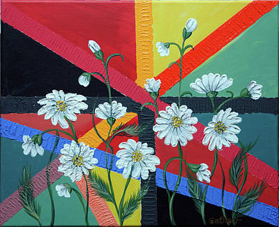 Daisies In A Modern Backgrownd Art Print by Gallery Nektarios
