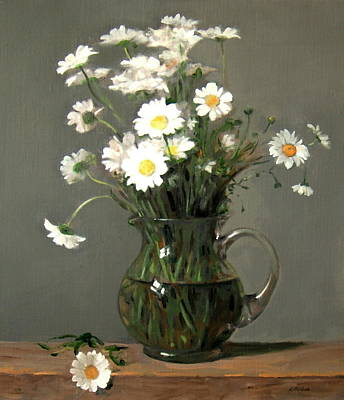 Painting - Daisies In A Water Pitcher On A Wood Beam by Robert Holden