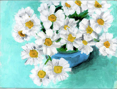 Daisies In Blue Bowl Art Print