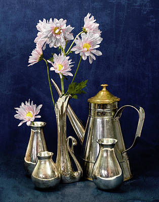 Photograph - Daisies In Silver Still-life by Betty Denise