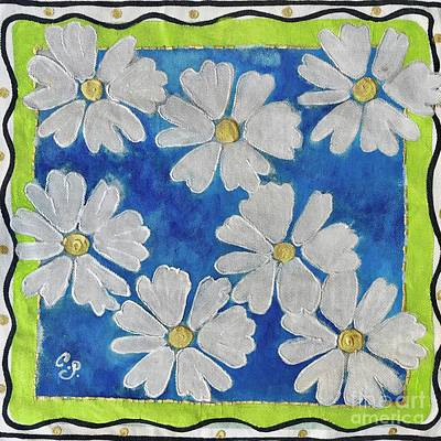 Painting - Daisies On Blue by Caroline Street