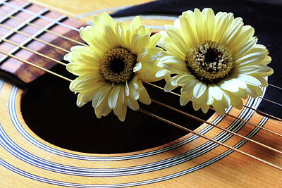 Photograph - Daisies On Guitar by Angela Murdock