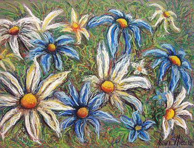 Daisies Pastel Art Print by Nancy Mueller