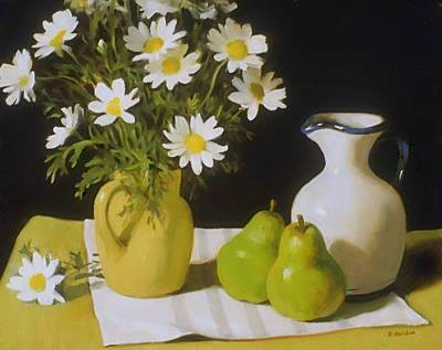 Painting - Daisies, Pears, And Spanish Oil Pitcher by Robert Holden