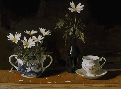 Painting - Daisies, Sugar Bowl,wine Bottle And Cup And Saucer by Robert Holden