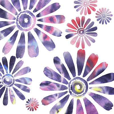 Abstract Painting - Daisies Watercolor Silhouette In Purple by Irina Sztukowski