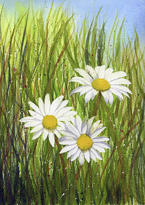 Painting - Daisies Watercolor by Taylan Apukovska