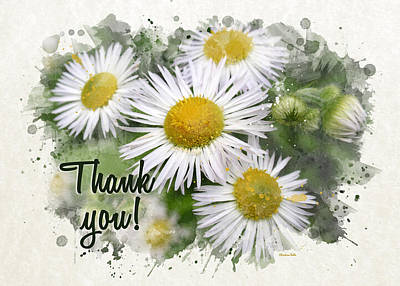 Daisy Mixed Media - Daisies Watercolor Thank You Card by Christina Rollo