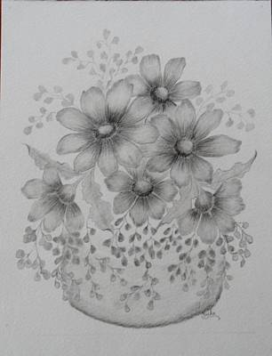 Drawing - Daisies With Maidenhair Fern by Vicki Thompson