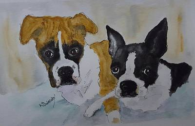 Daisy And Fenway Art Print by Kathy Sweeney
