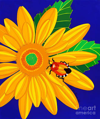 Daisy Drawing - Daisy And Shieldbug by Lucyna A M Green