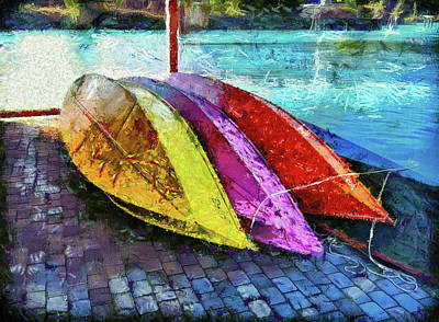 Print featuring the photograph Daisy And The Rowboats by Thom Zehrfeld