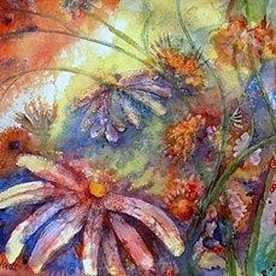 Painting - Daisy Blues by Renate Nadi Wesley