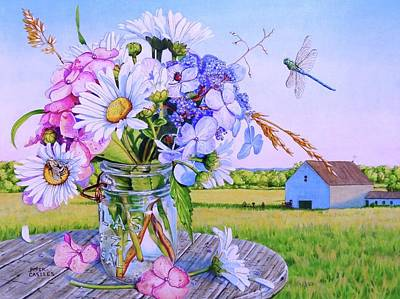 Daisy Bouquet, Maine Farm Landscape, Flowers, Barn, Dragonfly, Hydrangea Flowers, Mason Jar, Bee Art Print by Piper Castles