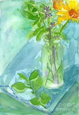 Painting - Daisy Bouquet On Vintage Linen by Cathie Richardson