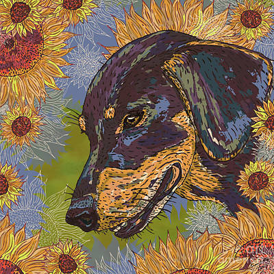 Daisy Dachsie And The Sunflowers Art Print by Lotti Brown