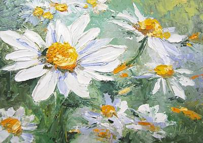 Daisy Delight Palette Knife Painting Art Print by Chris Hobel