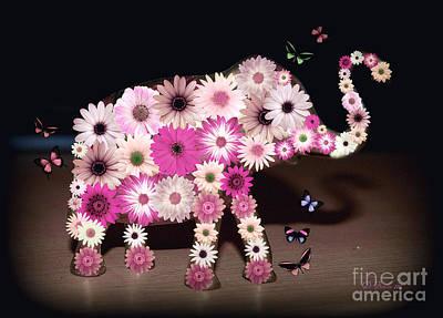 Daisy Elephant Art Print