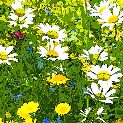 Spring Flowers Digital Art - Daisy Energy by Linda Mears