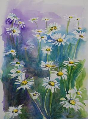 Of Cool Colors Painting - Daisy Field by Gretchen Bjornson
