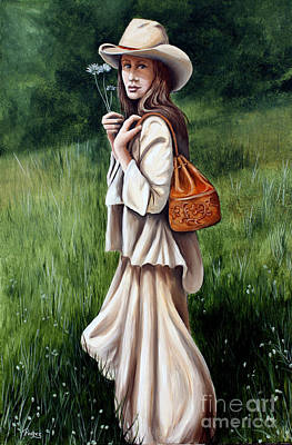 Pretty Cowgirl Painting - Daisy Field by Pechez Sepehri