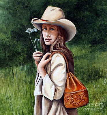 Western Purses Painting - Daisy Fields - Close Up by Pechez Sepehri