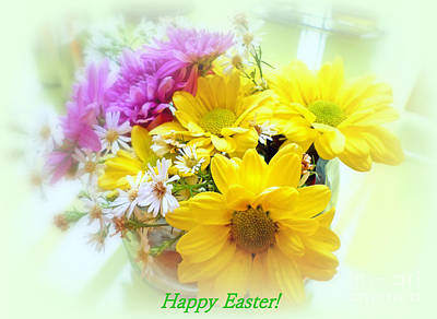 Photograph - Daisy Floral Happy Easter by Kay Novy