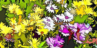 Pink Flower Digital Art - Daisy Flower Bonanza Abstract by Linda Mears