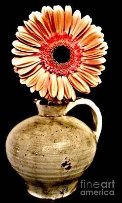 Daisy In Pottery Jug Art Print by Marsha Heiken