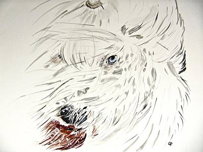 Windblown Painting - Daisy In The Snow by Carol Blackhurst