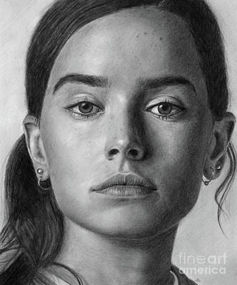 Drawing - Daisy Ridley Pencil Drawing Portrait by David Rives