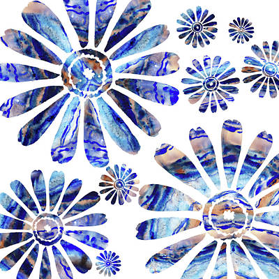 Painting - Daisy Silhouette Watercolor In Blue by Irina Sztukowski