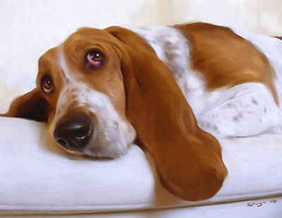 Basset Painting - Daisy by Simon Sturge