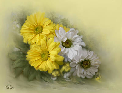 Art Print featuring the painting Daisy Spring Bouquet by Bonnie Willis