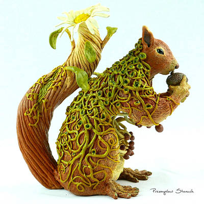 Polymer Clay Mixed Media - Daisy Squirrel by Przemyslaw Stanuch