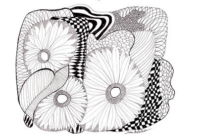 Art Print featuring the drawing Daisy Zentangle by Lou Belcher
