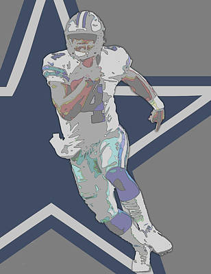 Mixed Media - Dak Prescott Dallas Cowboys Contour Art by Joe Hamilton